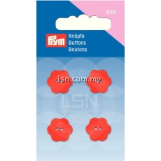 Button 2-Hole Flower Red 15 mm