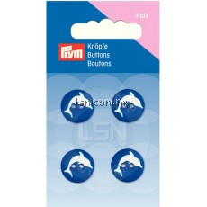 Button 2-Hole Dolphin Blue 15 mm