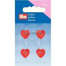 Button 2-Hole Heart Red 13 mm