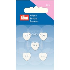 Button 2-Hole Heart White 11 mm