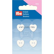 Button 2-Hole Heart white 13 mm