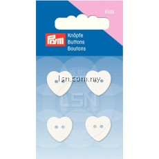 Button 2-Hole heart white 15 mm