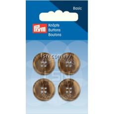 Button 4-Hole Suit/Trous. Beige/Brown 18 mm