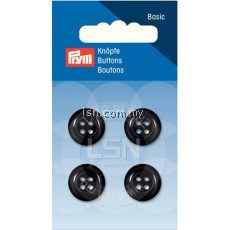 Button 4-Hole Coat Black 15 mm