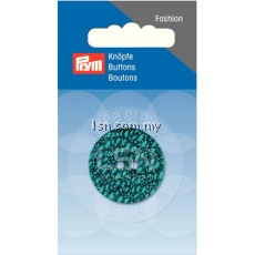 Button 2-Hole Glitter Turquoise 28 mm