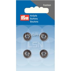 Button 4-Hole Metal Silver 11 mm