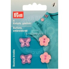 Buttons embroidered pink flowers/butterflies