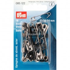 Safety Pins with coil No. 0-3 silver col/black 27/38/50 mm