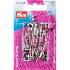 Safety Pins with coil brass 27/38/50 mm silver col