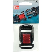 Clip buckle reflecting plastic 25 mm black