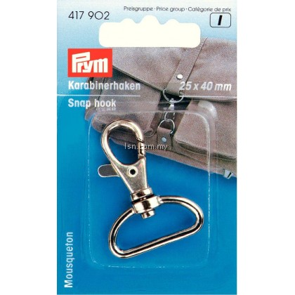 Snap hook 25 x 40 mm silver col