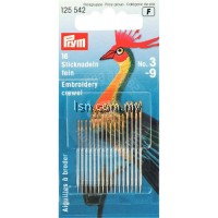 Fine embroidery needles HT 3-9 silver col with gold eye assorted