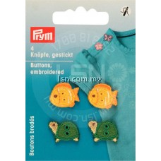 Button Embroidery Green/Yellow Tortoise/Fish