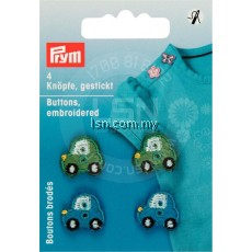 Button Embroidery Green / Blue Cars