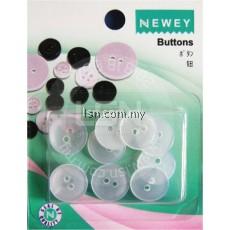Buttons Transparent (15mm) 2 holes