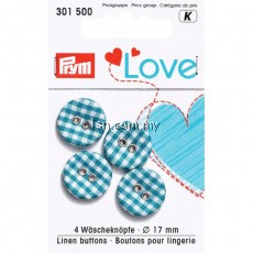 Love Linen Buttons 17mm blue