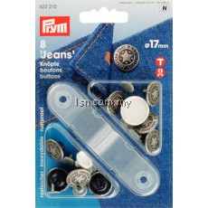 Non-sew press fasteners JEANS buttons brass antique Silver