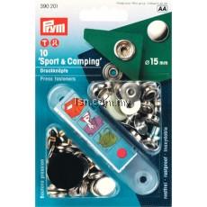 Non-sew press fasteners SPORT & CAMPING Silver col 15mm
