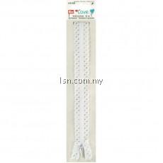 Love Zip Fastener 40cm White