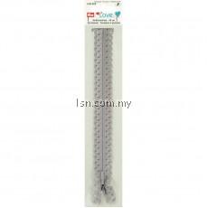 Love Zip Fastener 40cm Silver Grey