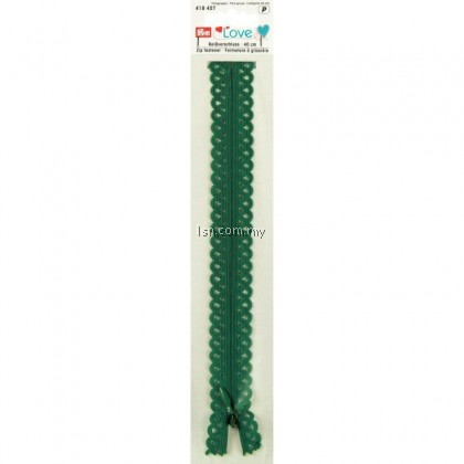 Love Zip Fastener 40cm Emerald