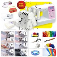 Package SURIA - Brother NV55P Sewing & 2104D Overlock Machine with Accessories Set