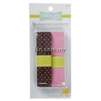 Brown With Dots And Solid Pink Fold Over Elastic
