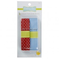 Red With Dots And Solid Blue Fold Over Elastic