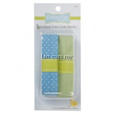 Blue With Dots And Solid Green Fold Over Elastic