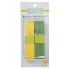 Yellow and Green Solid Fold Over Elastic