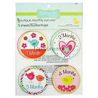Little Bird And Hearts Design Monthly Iron Ons