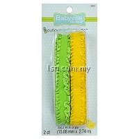 Green And Yellow Ruffled Elastic
