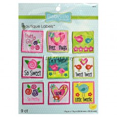 Girl Little Bird And Hearts Design Labels