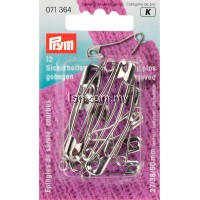 Safety Pins curved with coil brass 27 or 38 or 50 mm silver col