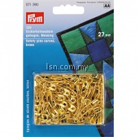 Safety Pins curved with coil brass 1 gold col 27mm