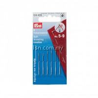 Self-threading Needles No. 5-9 assorted with split eye and gold eye