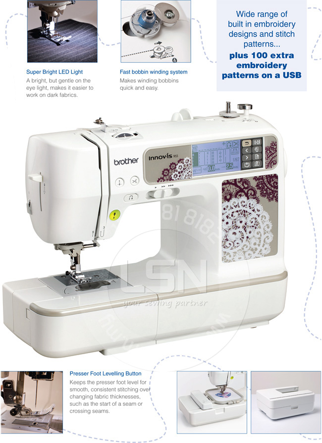 LSN| Brother NV955 Embroidery Sewing Machine + Basic Embroidery Software + 10000 Designs ...