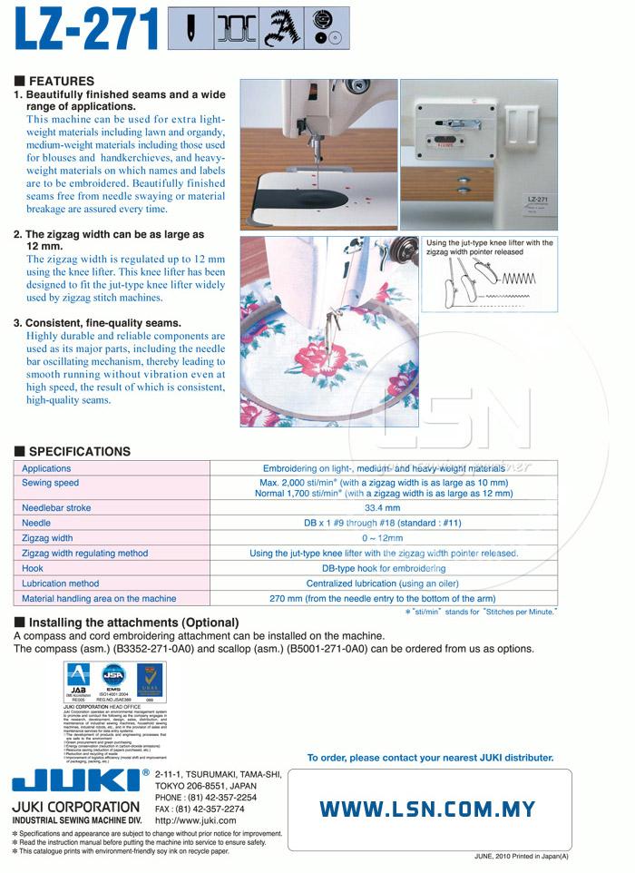 LSN| Mesin jahit Juki LZ-271 Lockstitch, Zigzag Stitching